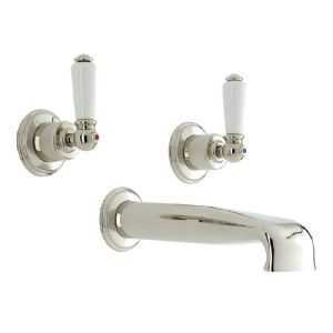 3560 Perrin & Rowe 3-hole Wall Mounted Basin Tap Set With Low Profile Spout And Lever Handles